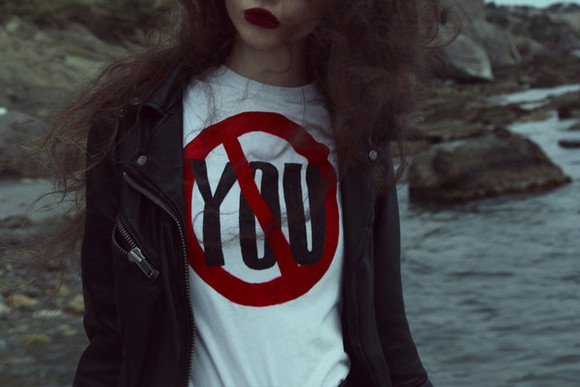 white shirt anti you prohibition circle no symbol you red circle leather jacket v.e. blogger