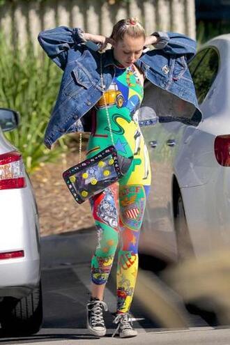 jumpsuit miley cyrus colorful sneakers denim jacket jacket