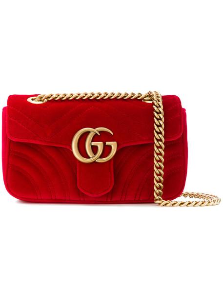 gucci mini women bag shoulder bag leather velvet red