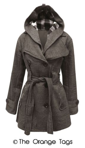 WOMENS BELTED BUTTON COAT NEW LADIES HOODED MILITARY JACKET PLUS SIZES 8-20   eBay