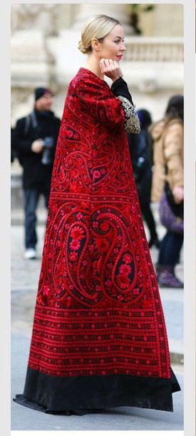 coat red pattern boyfriend coat black paisley