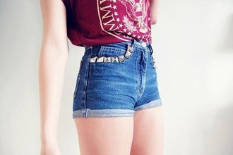 shorts dark blue blue studded studded shorts muscle tee red t-shirt shirt tank top top
