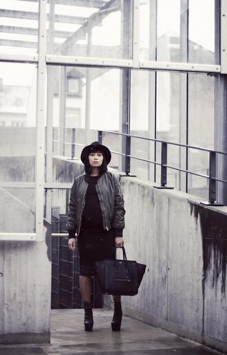 mode junkie blogger hat bomber jacket celine bag dress jacket bag shoes