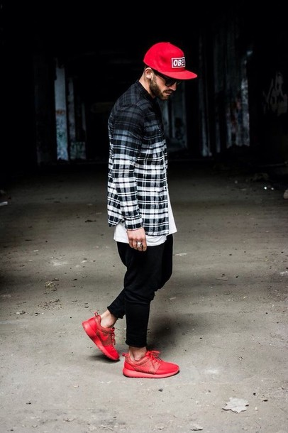shirt black and white flannel shirt urban menswear ombre shirt