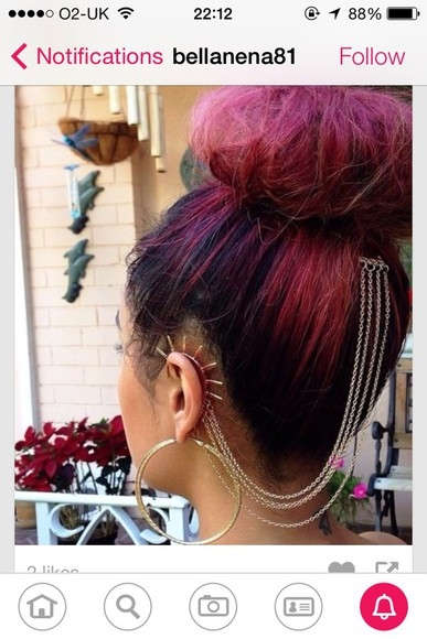 jewels earrings ear cuff ear to head cuff red hair