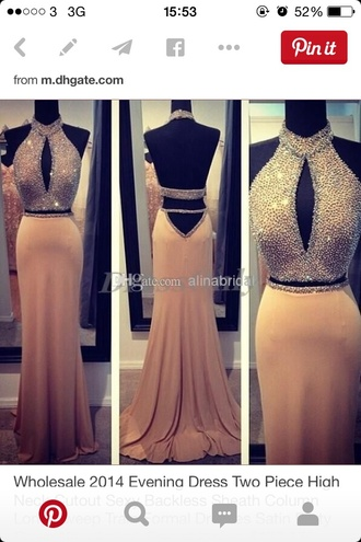 dress prom dress dusty pink 2 piece prom dress halter dress