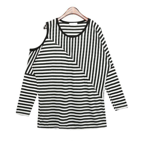 Stripe long sleeve shirt with cutout shoulder