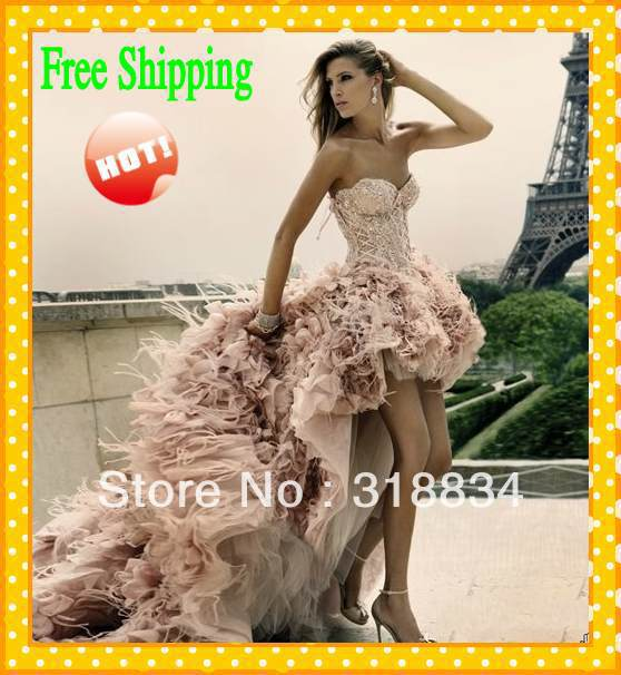Aliexpress.com : Buy Free Shipping Sweetheart Ruffled Bling Sequins Feather Organza Short Front Long Back Prom Dresses With Beads And Crystals 2014 from Reliable feather party dress suppliers on Reshion