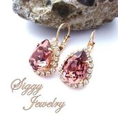 jewels,siggy jewelry,earrings,jewelry,fashion jewelry,fashionista,blush,blush earrings,swarovski,rose gold,pear earrings,pear shape,teardrop,tear drop earrings,fashion,gift ideas,anniversary gifts for her,mothers day gift idea,valentines day gift idea,sparkle,bridesmaid,maid of honor,bling,etsy