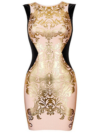 dress gold dress bandage dress