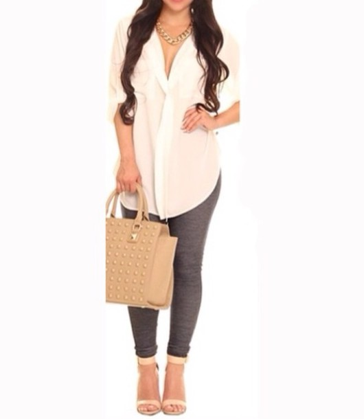 blouse white blouse chiffon blouse button down shirt cute gold chain studded bag cute leggings curled hair bag jewels shoes pants