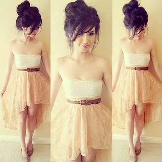 dress white ivory nude lace cute sweet pink pretty dress style dope
