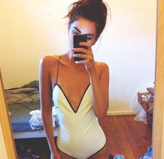 shirt white leotard low front low back