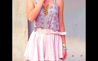 top summer rose roses grey blue pale corsage floral skirt belt gold necklace beautiful jewels