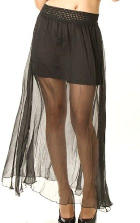 com: Sexy Black Sheer See-Through Maxi Skirt -Black-Small: Clothing