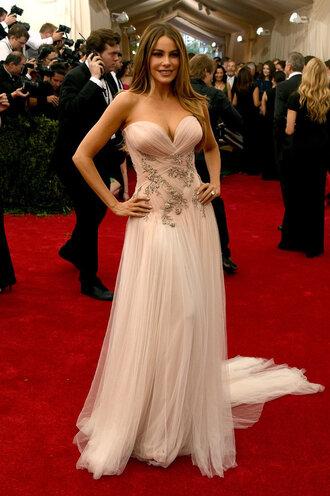 dress gown strapless bustier sofia vergara red carpet met gala
