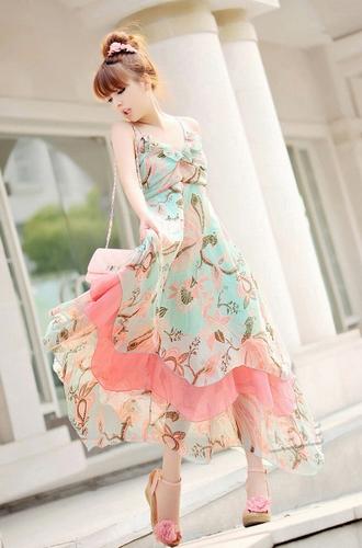 Neck column women's chiffon refreshing dress (as the picture,l)