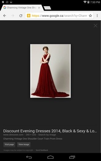 dress prom red tulle skirt one shoulder long a line flowers empire waist vintage classic burgundy gorgeous rose