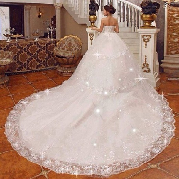 Dress bag white wedding dress beautiful gown ballgown for White sparkly wedding dress