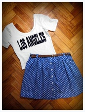 top,t-shirt,skirt,blue skirt,white top,los angeles,white t-shirt,crop tops,white crop tops,style