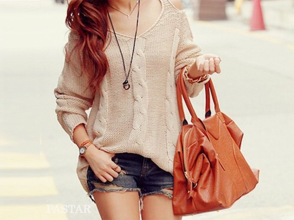 sweater oversized sweater knitted sweater shorts fall outfits