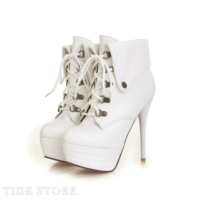 PU White Stilleto Heel Lace-up Closed Toe Platform Ankle Boots: tidestore.com