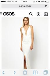 dress,asos,white,elegant,sexy,low back,low back dress,long