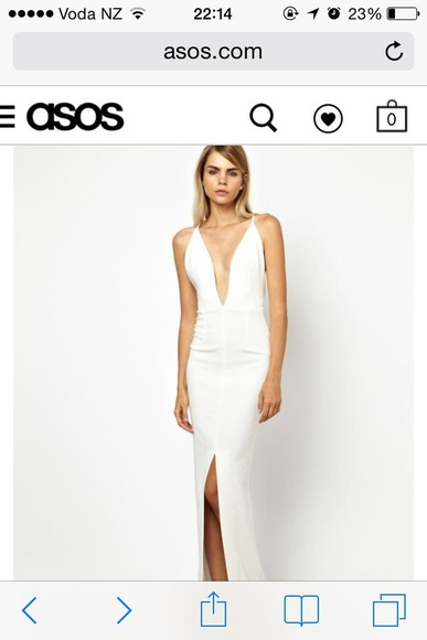 dress asos sexy elegant white low back low back dress long