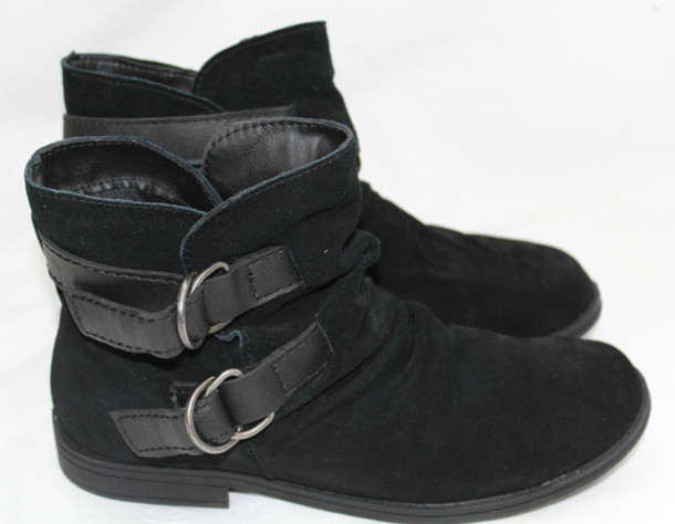 Shoes: ankle boots, black boots, cute, black, suede, slouch ...
