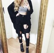 jeans,ripped jeans,boyfriend jeans,knee hole jeans,knee holes,bralette,gray bralette,black coat,large coat,oversized coat,huge coat,ankle boots,style,stylish,trendy,grunge,grunge top,grunge crop top,grunge wishlist,cute,sexy,casual,rad,chill,fashionista,cool,tumblr outfit,tumblr top,tumblr,tumblr clothes,girl,streetwear,blogger,instagram,edgy,pretty,knitwear,hot,rock,high waisted,date outfit,clothes shirt,on point clothing,clothes,women,shirt,tank top,cardigan