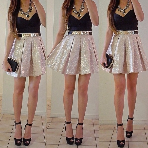 skirt gold glitter golden skirt skater skirt belt jewels bag shirt light rosé mini skirt high waisted high waisted shoes dress