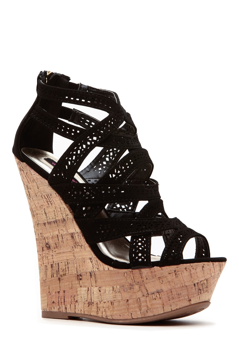c02afc056 Black Laser Cut Curves Ahead Cork Wedges @ Cicihot Wedges Shoes Store:Wedge  Shoes,Wedge Boots,Wedge ...