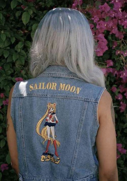 jacket 90s style alternative anime denim jacket sailor moon pastel hair soft grunge