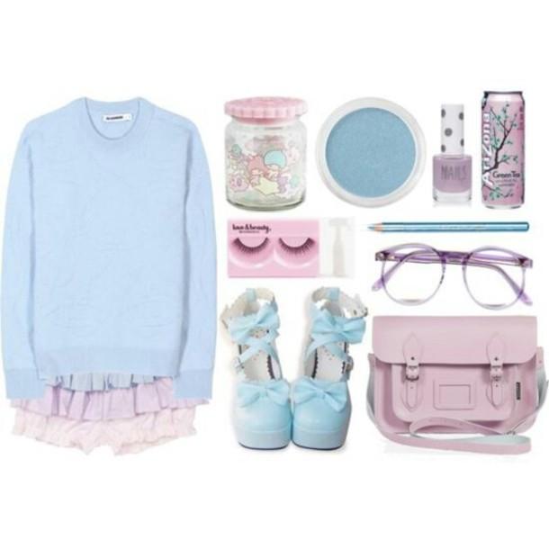 shorts pastel pastel goth kawaii sweet gyaru shoes bag sunglasses shirt blouse