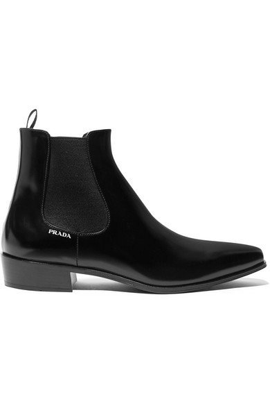 Prada - Glossed-leather chelsea boots