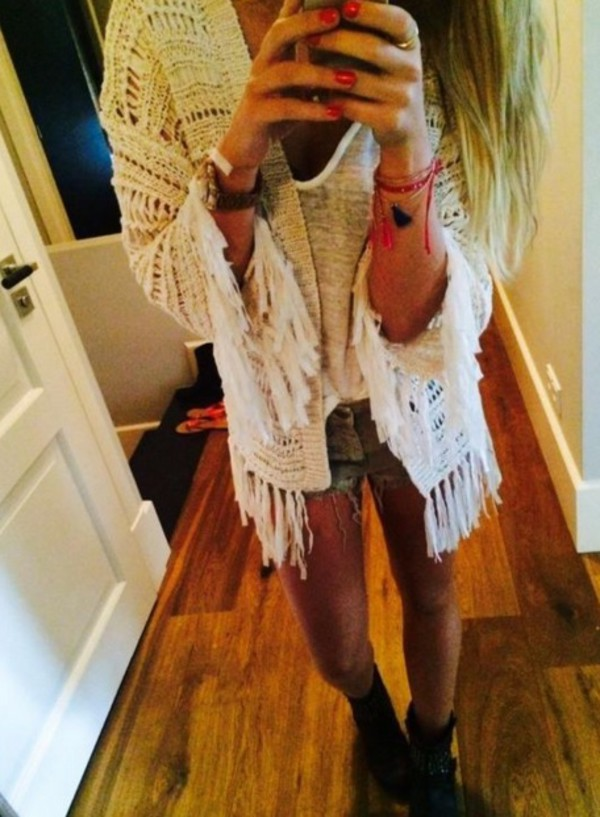cardigan cardigan hippie festival boho shorts