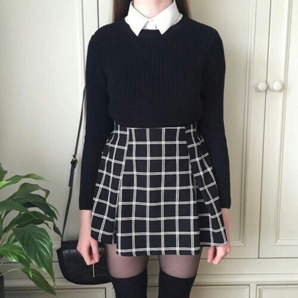 skirt grunge cute emo dark black grey grey ana cardigan dress shirt sweater white teenagers cool school wear grunge skirt 90s grunge tumblr aesthetic tumblr aesthetic square aesthic clothes clothes pale checkered plaid skirt grid skirt pleated grid skirt skater skirt black skirt black and white skirt school girl b & w