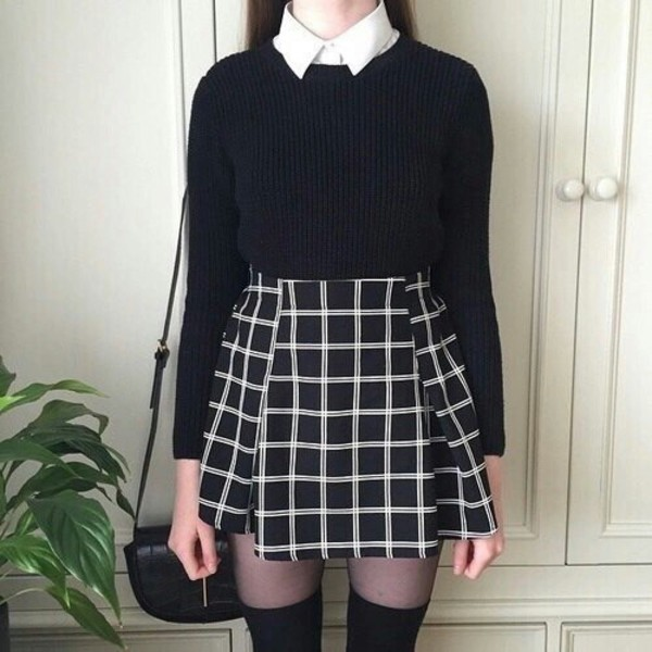 skirt grunge cute emo dark black grey grey ana cardigan dress shirt sweater white teenagers cool school wear grunge skirt 90s grunge tumblr aesthetic tumblr aesthetic square aesthic clothes clothes pale checkered plaid skirt grid skirt pleated grid skirt skater skirt black skirt black and white skirt school girl b & w outfit female goth grid line skirt black and white