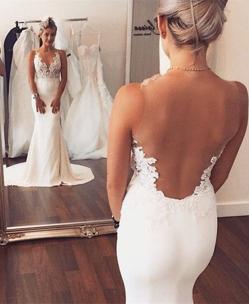 dress white wedding dress with lacee