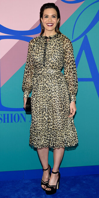 dress midi dress sandals mandy moore animal print platform sandals cfda