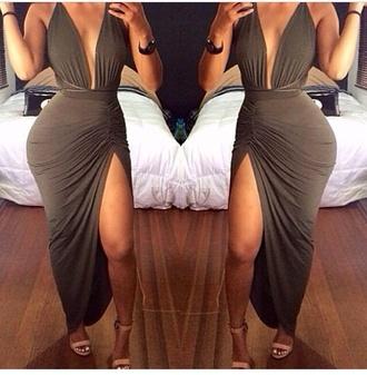 khaki dress plunge neckline long dress slit dress olive green dress
