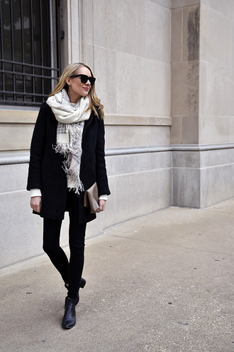 fashionjackson blogger coat sweater scarf jeans shoes bag winter outfits black coat ankle boots black jeans
