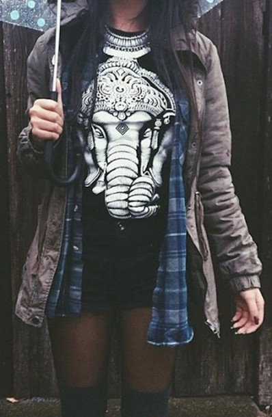 t-shirt clothes fashion ganesha black t-shirt black top black and white white t-shirt jacket coat blouse elephant print indian shirt