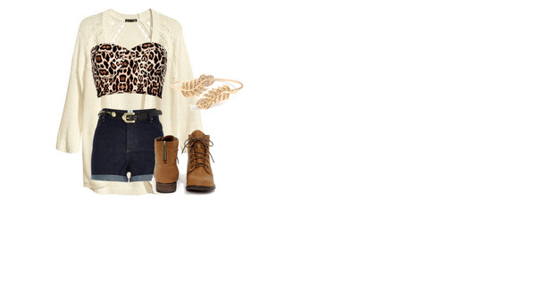 shirt cardigan bralette boots brown leopard print High waisted shorts bandeau combat boots
