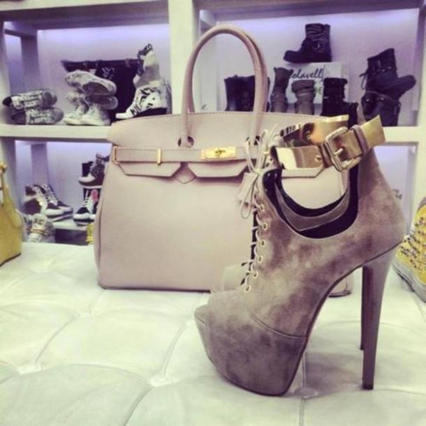 shoes high heels nude high heels bag booties beige grey shoes
