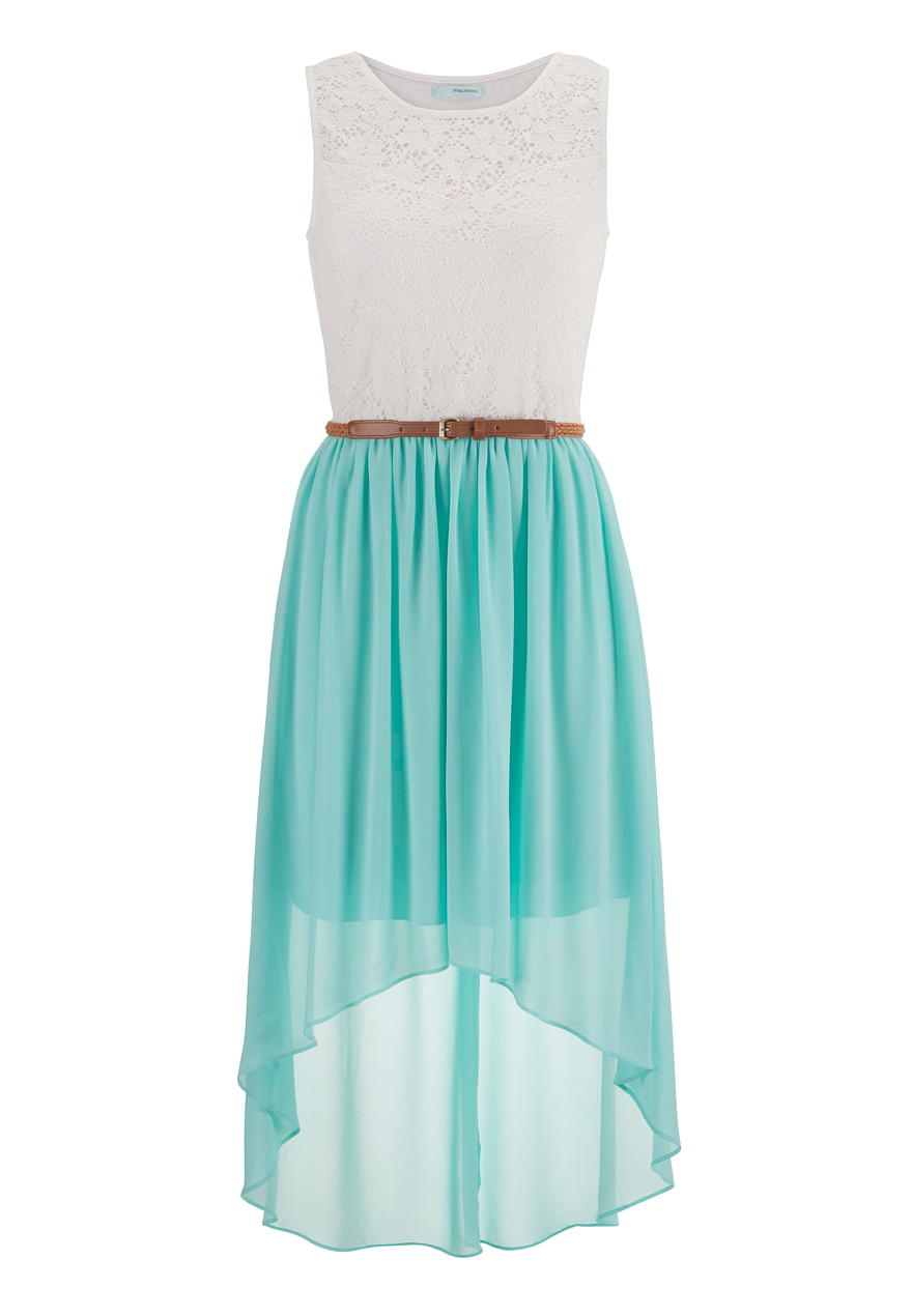 belted lace top high low dress