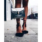 bag,tumblr,silver,silver bag,sandals,sandal heels,high heel sandals,black sandals,fringe shoes,fringes,bvlgari serpenti bag,bulgari serpenti bag,new year's eve,party shoes,metallic bag