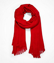 WAFFLE WEAVE OBLONG SCARF - RED | Express