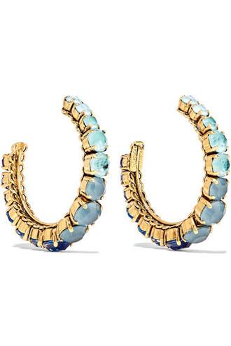earrings hoop earrings gold blue jewels