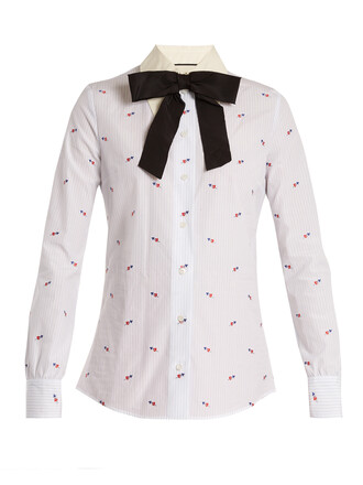 shirt heart cotton blue top